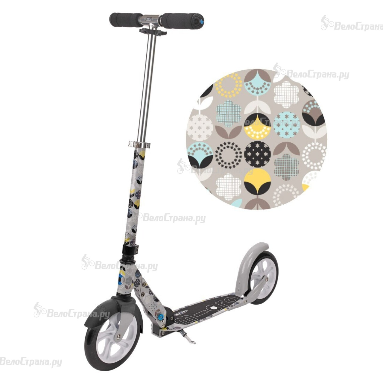 Самокат Micro SCOOTER WHITE FLORAL GREY (SA0054)